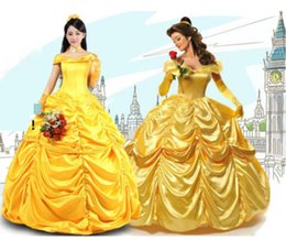 Wholesale Express shipping Halloween Costumes for Women Fantasia Cosplay Southern Beauty And The Beast Adult Princess Belle Costume Wedding Dress