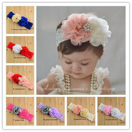 Baby girl headbands Gauze Lace flower Headband Pearl rhinestone headbands for girls kids hair accessories baby headbands flowers wholesale