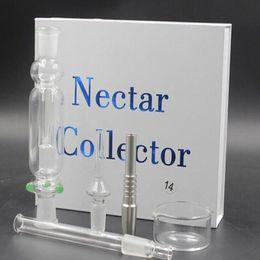 Ongles en verre pour l'huile à vendre-2016 Nectar Kit collecteur paille tuyau en verre tuyaux en acier titane quartz 10mm 14mm 18mm joint Oil Rigs hookahs Tuyau d'eau pour fumer des ongles