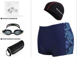 Natation costume sec en Ligne-5 Pieces Men Swim Suit Plus Size Elastic Dry Dry Swimwear Trunks Caps + masques de natation + bouchons d'oreille + sacs d'organisation étanche