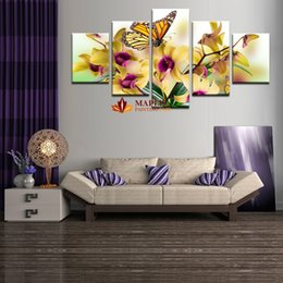 (No Frame)Picture Noble and beautiful phalaenopsis 5 Panels Set HD Canvas Print Painting Artwork, Wall Art Picture canvas print