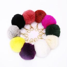 Lovely Genuine Rabbit Fur Ball PomPom Car Keychain Handbag Charm Key Ring