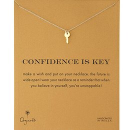 Wholesale Fashion Dogeared Necklace with Confident is key Pendant WITH CARD gold color noble and delicate choker necklace no fade Necklace Jewelry