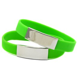 50PCS Lot Silicone Wristband with Metal Piece Ornament Flexible And Strong. Wear This Bracelet To Show Your Difference