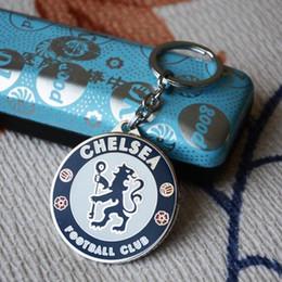 Wholesale Chelsea Soccer Fans Keychain Metal Football Keyring team Key Holder Trinket Carabiner Keychain with Zinc Alloy for Gift