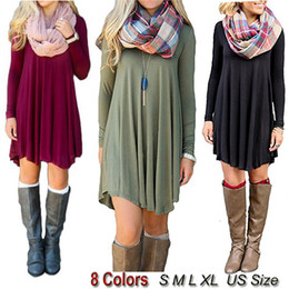 Wholesale Hot Selling Dresses for Women Clothes Fashion Long Sleeve Autumn Casual Loose T Shirt Plus Size Dress S M L XL QZ957