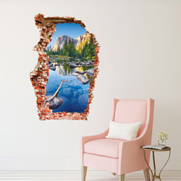 3D Removable wall stickers Colorful mountain scenery Sea boat wallpaper Phil tower Waterproof fresco