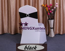 Cheap Price 100PCS Black Color Lycra Spandex Chair Band With Buckle Used On Wedding Spandex Chair Cover Free Shipping