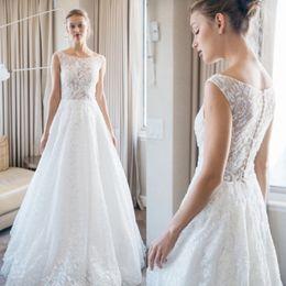 Romantic Simple White Boho Wedding Dresses 2017 Scoop Neckline A Line Appliqued Floor Length Lace Illusion Bridal Gowns For Summer Weddings