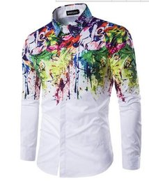 Wholesale Abstract flowers spray painted printed men s long sleeved shirt hot sale mens flannel shirts brand dress shirts new man shirt free