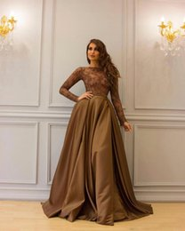 Brown Satin African Evening Dresses Overskirts Illusion Bodice Dubai Arabic Formal Party Celebrity Gowns Long Sleeves Mermaid Prom Dress