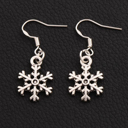925 Silver Arched Snowflake Charm Pendant Earrings 40pairs lot 14.4x35.1mm Tibetan Silver Fish Ear Hook E794