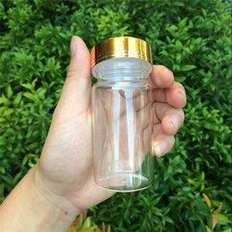 Wholesale 47 mm ml Glass Bottles Glod Screw Cap Jars Glass Bottles For Liquid Candy Gift Jars Eco Friendly