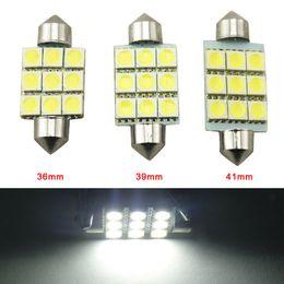 LEEWA 50pcs White 36mm 39mm 41mm 9SMD 5050 Car LED lights Festoon Dome LED bulbs Reading LED Light 12V # 2789