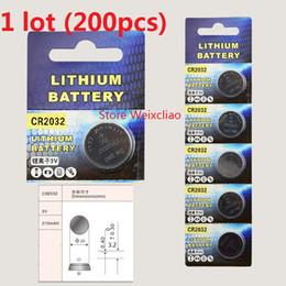 200pcs 1 lot CR2032 3V lithium li ion button cell battery CR 2032 3 Volt li-ion coin batteries Free Shipping