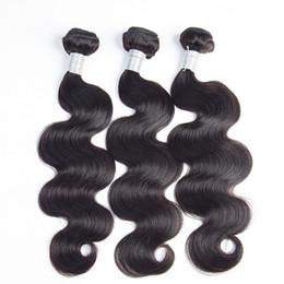 Acheter en ligne 18 black hair-9A Unprocessed Brazilian Body Wave Virgin Hair Weft Cheveux humains Extrates de cheveux malais indiens péruviens 3 PCS Double Weft Natural Black
