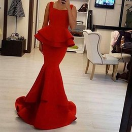 Wholesale 2017 Red Carpet Mermaid Evening Dresses Square Neck Peplum Layers Long Cheap Prom Gowns CUstom Made Maid Of honor Bridesmaid Dress ba4149