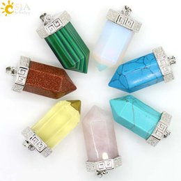CSJA Hexagonal Prism Big Bullet Platinum Plated Carved Alloy Natural Gemstone Rose Quartz Necklace Pendants Unisex Jewelry E097