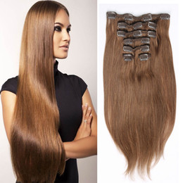 Women's Fashion Brazilian Remy Human Hair Extensions 10pcs set 22clips Straight Clip In On Human Hair Extensions Optional Color