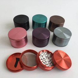 Grinder Sharp Stone 4 parts 2.5inches diameter aluminium alloy herbal tobacco cnc teeth filter net dry herb vaporizer pen vaporizer