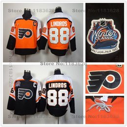 Factory Outlet Discount Philadelphia Flyers Jerseys 88 Eric Lindros Jersey Throwback Orange CCM Vintage Cheap Hot Sale Ice Hockey Jerseys