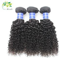 Acheter en ligne Bouclés tisse coiffures-7A brésilien bouclé profond cheveux bouclés Weave 100% cheveux humains cheveux produits extensions de coiffure trame remy naturel noir