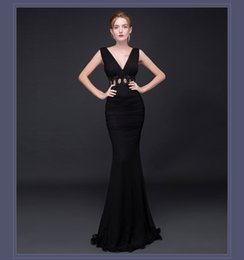 Wholesale Women Sexy Hot Selling Sleeveless Deep V Neck Dress Slim Elastic Stretch Fish Tail Catwalk Floor Length Backless Party Evening Dress