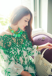 20167 Spring New European style Ladies' Green leaf Long sleeve blouse lace patchwork chiffon High quality Women shirt