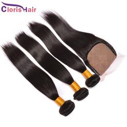 2017 Popular Silky Straight Malaysian Human Hair Weave Bundles with Silk Base Closure Soft Straight Closures Weaves 4pcs