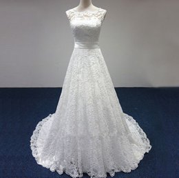 Jewel Sleeveless Bridal Gowns From China 2016 A Line Lace Up Wedding Dress None Train Real Photos