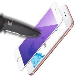 Écrans pourpres en Ligne-3D Curve Purple Light Verre trempé 9H Explosion Proof Full Screen Fibre Soft Edge Cover Protector pour iPhone 7 Plus