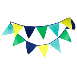 Acheter en ligne Tissu étamine bannière-Grossiste-12 Drapeaux 3.2m Bleu et vert Tissu non tissé Bunting fanion Flag Banner Garland Anniversaire / Baby Shower Bricolage Home Party Supplies