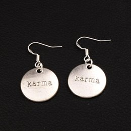 Karma Round Earrings 925 Silver Fish Ear Hook 30pairs lot Antique Silver Chandelier E337 36.5x19.5mm