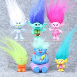 Película de acción en Línea-Trolls Movie 6Pcs / Set 8cm Figura de Dreamworks Muñecas Coleccionables Poppy Branch Biggie PVC Trolls Figuras de Acción Doll Toy Trolls