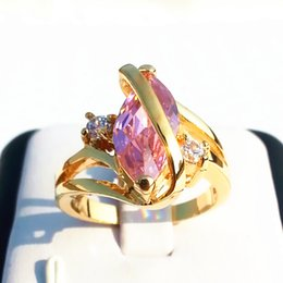 Luxury Lady Women Jewelry 1.68ct Pink stone gemstone fine 14KT Fine yellow Gold filled Ring rings