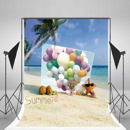 Descuento fondos de verano 5x7ft (150x210cm) Fondos de verano Cielo azul Nube blanca Backdrops naturales Globos coloridos para el estudio de la fotografía del cumpleaños del bebé