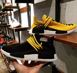 Wholesale HU NMD is Beginning New Creative Concept Pharrell Williams NMD Human Race Running Shoes Yellow and Black For Men With Box