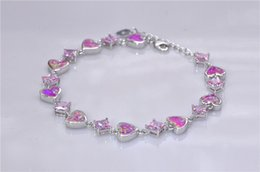 Wholesale & Retail Fashion 7.5 Inches Fine Rinbow & Pink Fire Opal Bracelet 925 Sterling Sliver Jewelry For Women _DSC3179Wholesale & Retail