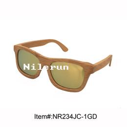 mirror gold polarized lens bamboo sunglasses