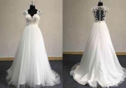 Vintage White Tulle Country Wedding Dresses Designer 2017 Illusion Back V Neck Cap Sleeve Western A-line Bridal Gowns Handmade For Summer