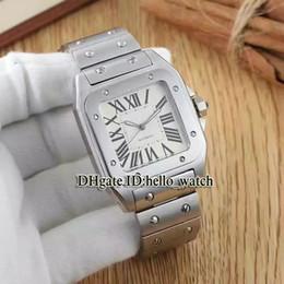 Esfera blanca para hombre de los relojes automáticos en Línea-Super Clone marca de lujo barato SANTO 100 automático W200737G blanco Dial reloj de pulsera de acero inoxidable de plata W20098D6 relojes de señora