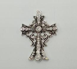 Croix d'argent à vendre-Pendentif en argent sterling 925 avec pierres claires