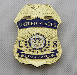 Wholesale American metal badge US homeland security DHS transport safety management Aviation badge gold color TSA Halloween cosplay badge