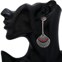New Arrival Antique Silver Plated Shell Shape Hollow Tassel Long Stud Earring Dangle Ear Ring Women Jewelry
