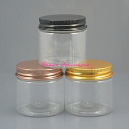 100pcs lot Black Lid Aluminum Cream Container 50ml PET Jar Cosmetic Packaing Plastic Jars transparent clear pot 50g 1.7oz small jar