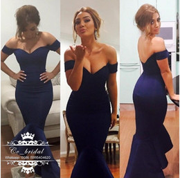 Wholesale Elegant Navy Blue Bridesmaid Dresses With Sexy Off Shoulder Mermaid Maid Of Honor Dress For Weddings Short Sleeves Women Party Gowns