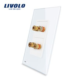 Wholesale LS Manufacturer Livolo White Crystal Glass Panel Gangs Home Wall Sound Acoustics Socket VL C592A