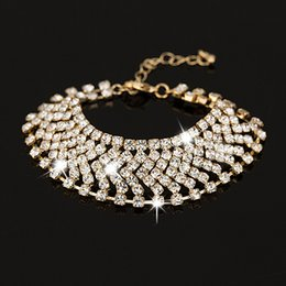 Gold and silver plated girl crystal bracelet 2017 valentine day gift fashion rhinestone bracelet stone jewelry
