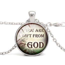 Christian Quotes Pendant Necklaces God Bless Glass Cabochon Alloy Vintage Charm Children Gift Women Jewelry Wholesale Free Shipping