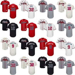 Men's Women's Kid's Youth Atlanta Braves 12 Eddie Pérez 9 Terry Pendleton 32 Marty Reed Gray Ivory Navy Scarlet White Best Baseball Jerseys